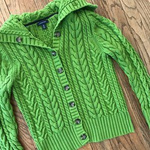 Lands End Cable Knit Sailor Cardigan Sweater M